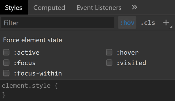 A menu for toggling an element's state